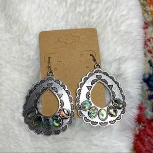 ⭐️ Abalone Shell Silver Statement Earrings